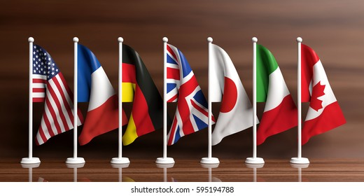 G7, G8 countries miniature flags on wooden background. 3d illustration