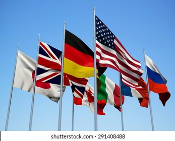The G8 countries flags waving in the wind. 3d illustration.