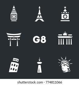 G8 countries symbols Icons.