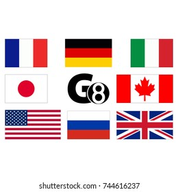 G8, flags of countries. Abstract concept. Flat design. Raster illustration on white background.