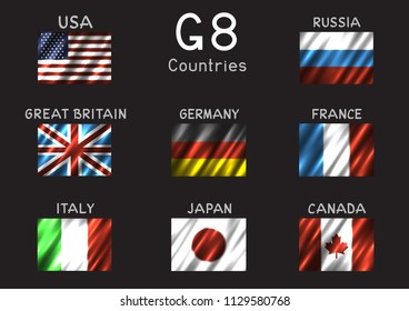 G8 USA Canada France Germany Italy Japan Russia Great Britain rectangular flag icon set on gray background. Great 8 country banner backdrop