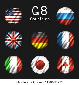 G8 USA Canada France Germany Italy Japan Russia Great Britain round flag icon set on gray background. Great 8 country circle banner backdrop