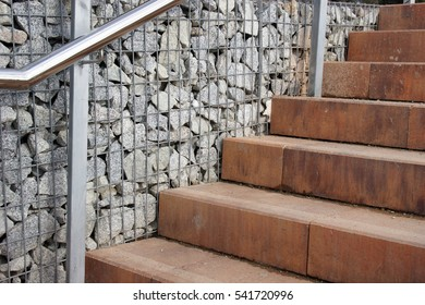 Gabion wall and concrete stair