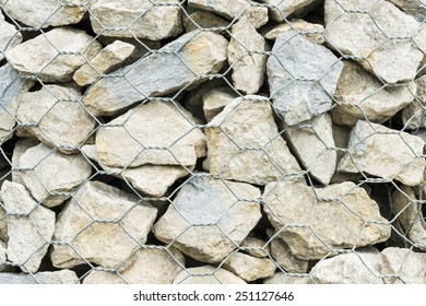 Gabion Wall. Detail of wall made of wire cage filled with stones