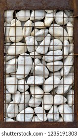 Gabion with white stones