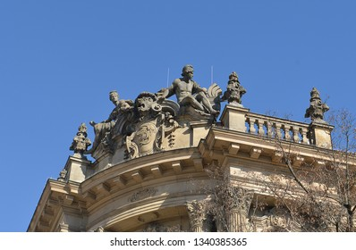 Gable decoration in baroque revival style from the old Stock Exchange in Munich, Bavaria, Germany whichwas originally built for Deutsche Bank between 1896 and 1898 by the architect Albert Schmidt.