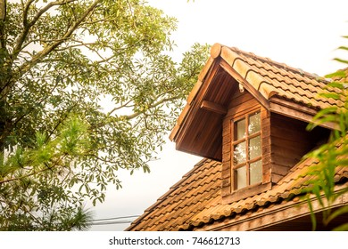 Gable house roof with tree