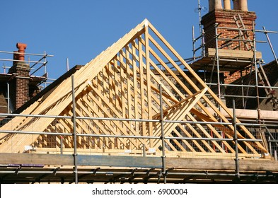 Gable roof timber frame under construction