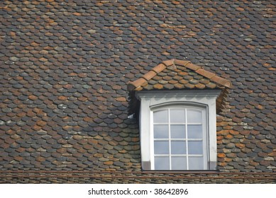 Gabled window with glass panes