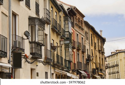 Gables with balconies of historical buildings in Segovia, Spain