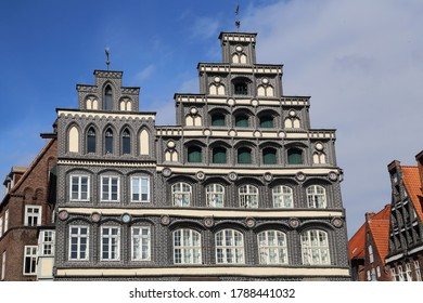 Gables of traditional houses on the Am Sande town square of Luneburg, Germany
