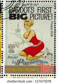 GABON - CIRCA 2006: stamp printed by Gabon, shows Poster, Brigitte Bardot, circa 2006