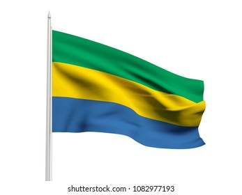 Gabon flag floating in the wind with a White sky background. 3D illustration.