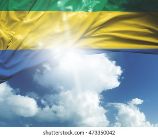 Gabon flag on a beautiful day
