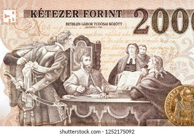 Gabriel Bethlen portrait. 2000 Hungarian forints Banknote. Hungarian forint is the national currency of Hungary Up UNC Uncirculated - Collection