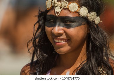 São Gabriel da Cachoeira, Amazon / Brazil - April 15, 2011: Girl staging a traditional dance of her indigenous ethnicity, photo taken during the local festival called 'Festribal'.