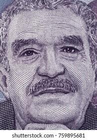 Gabriel Garcia Marquez portrait on Colombia 50000 peso (2016) banknote closeup macro, Colombian novelist, writer, screenwriter and journalist, Nobel Prize winner.