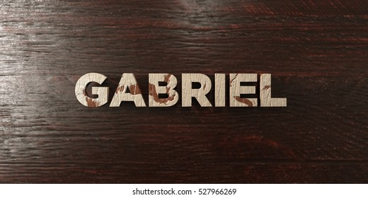 Gabriel - grungy wooden headline on Maple  - 3D rendered royalty free stock image. This image can be used for an online website banner ad or a print postcard.