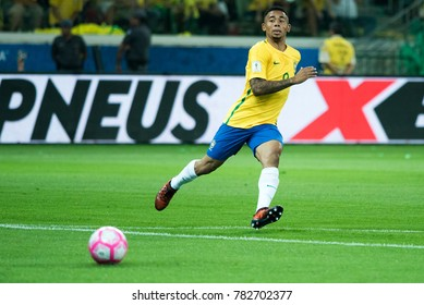 Gabriel Jesus during the match between Brazil and Chile for the 2018 FIFA World Cup Russia Qualifier at Allianz Parque Stadium on October 10, 2017 in Sao Paulo, Brazil.