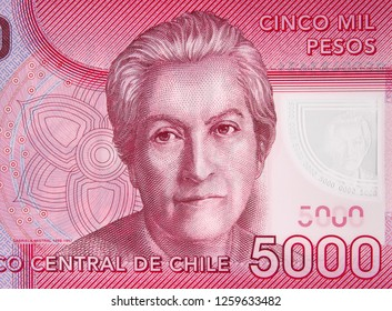 Gabriela Mistral portrait on Chile 5000 peso banknote close up. Chilean poet, 1945 Literature Nobel Prize winner.