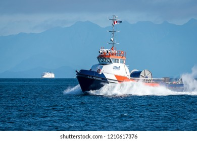 Gabriola Island, British Columbia, Canada, September 24, 2018 - The G.M. Penman is a Ocean Class Spill Response vessel which cleans hazardous spills off the waters surface using skimmer brushes.