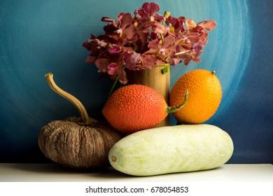Gac fruit, Pumpkin and Winter Melon with still life.