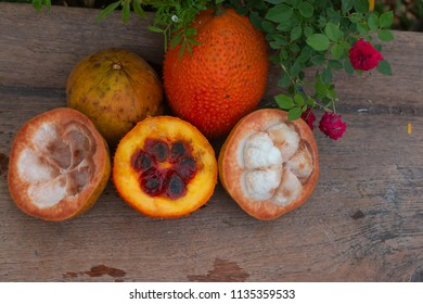 Gac fruits and  santol fruit of Thailand on the wooden table
