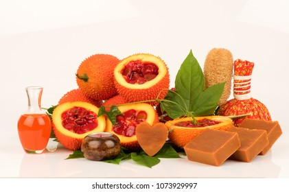 Gac fruits,fruits of Thailand have medicine properties and  DIY infused with oil for facial oil treatment and handmade Gac soap.