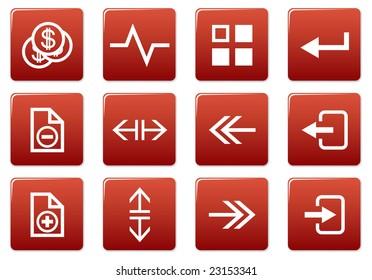 Gadget square icons set. Red - white palette. Raster illustration.