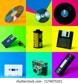 Gadgets and objects popular in the 90's. lp disc, CD, floppy, VHS, cassette, vintage camera, film