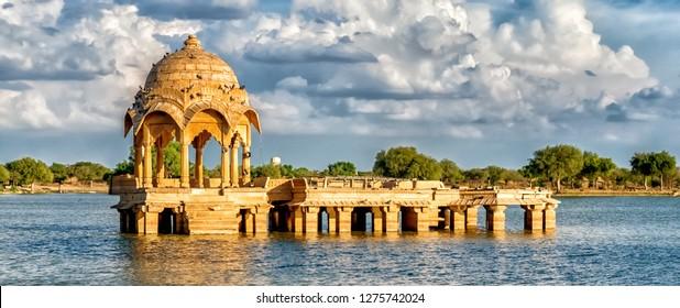 Gadi Sagar Gate, Jaisalmer, North India. Panoramic view
