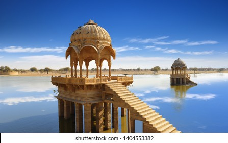 Gadi Sagar temple gazebo on Gadisar lake Jaisalmer, Rajasthan, India