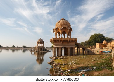 Gadisar Lake in Jaisalmer city is tourist attraction. India, Rajasthan