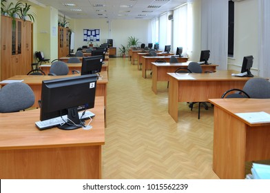 Gadjievo, Russia - March 6, 2012: Interior of an empty computer class in school