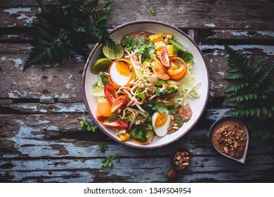 Gado Gado Vegetables Salad with Peanut Sauce. Indonesian Cuisine