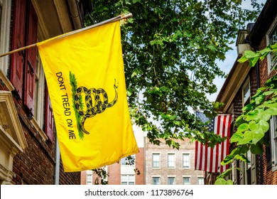 """The Gadsden flag, with """"Don't Tread On Me"""" written on it, was designed by General Christopher Gadsden during the American Revolution."""