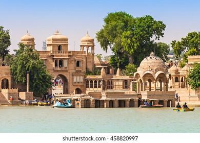 Gadsisar (Gadisagar) lake in Jaisalmer, Rajasthan state, India