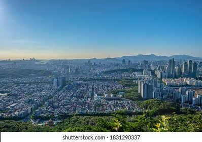 Gaepo-dong, Seocho-gu, Seoul, South Korea - July 15, 2020: Aerial view of Seoul downtown with Tower Palace and highrise apartments seen from Guryongsan Mt