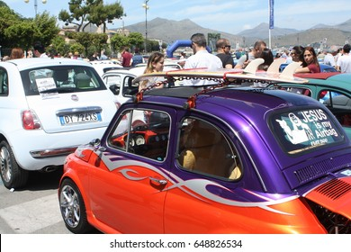 GAETA, ITALY-05/14/2017:people meeting during a Fiat 500 gathering