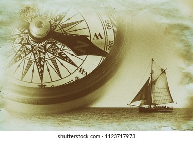 Gaff sailer with compass