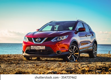GAGRA, ABKHAZIA - DECEMBER 19, 2015: Assembled in Russia all-new Nissan Qashqai at the test-drive. Qashqai combines crossover design and compact hatchback refinement with advanced in-car connectivity.