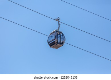 Gaia/Porto/Portugal - 10 01 2018: View of Aerial tramways, Cable cars , going up the street, in the downtown, tourist area on center at the Gaia city