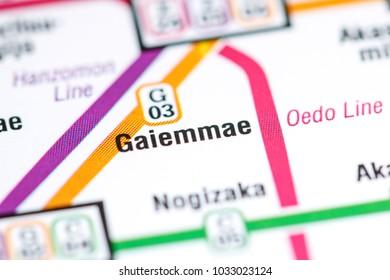 Gaiemmae Station. Tokyo Metro map.