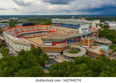 GAINESVILLE, FL, USA - JUNE 11, 2019: Aerial Ben Hill Griffin Stadium University of Florida Gainesville