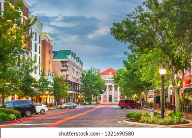 Gainesville, Florida, USA downtown cityscape at twilight.