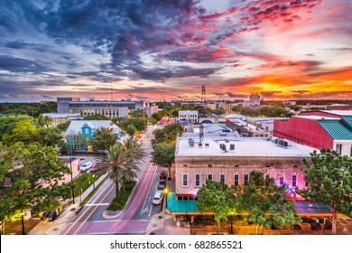 Gainesville, Florida, USA downtown cityscape.