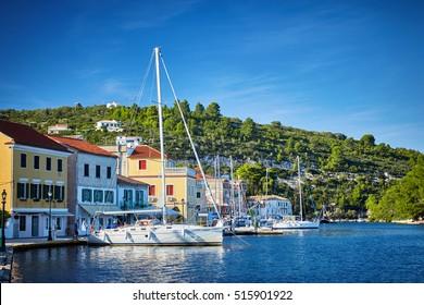 Gaios port at Paxos island in Greece. Ionian sea