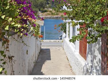Gaios village at Paxos island in Greece. Ionian sea