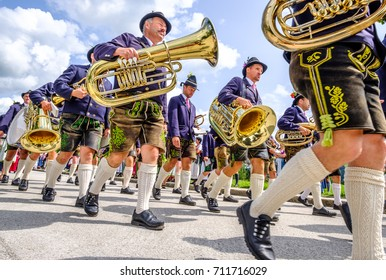 Gaissach, Germany - August 20: people at a parade for the 1200 year anniversary on August 20, 2017 in Gaissach