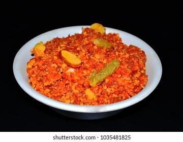 Gajar Ka Halwa/Carrot-Based Sweet Dessert Pudding